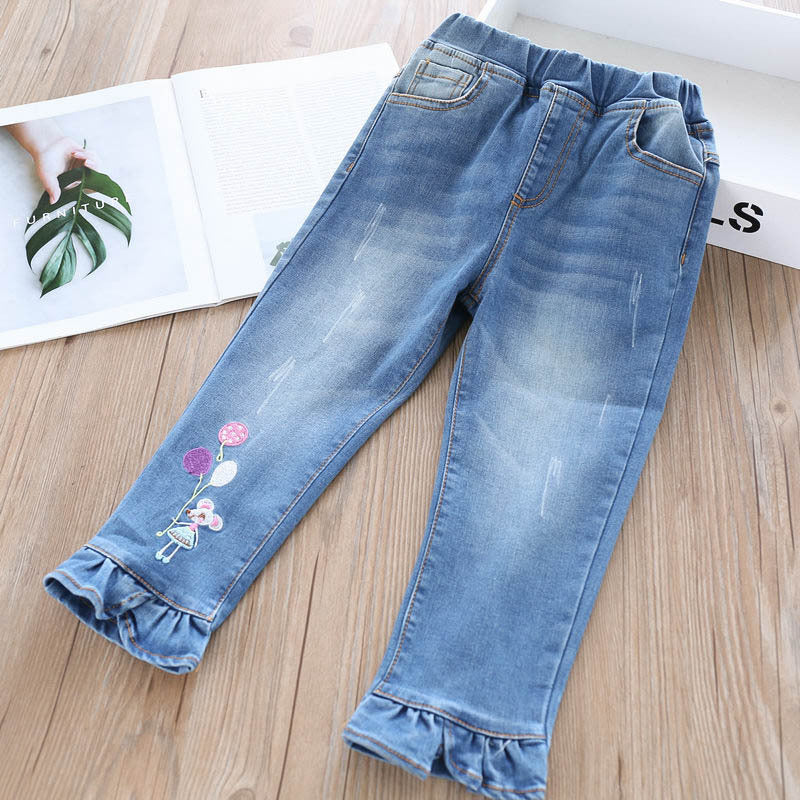 Trousers girls jeans embroidered