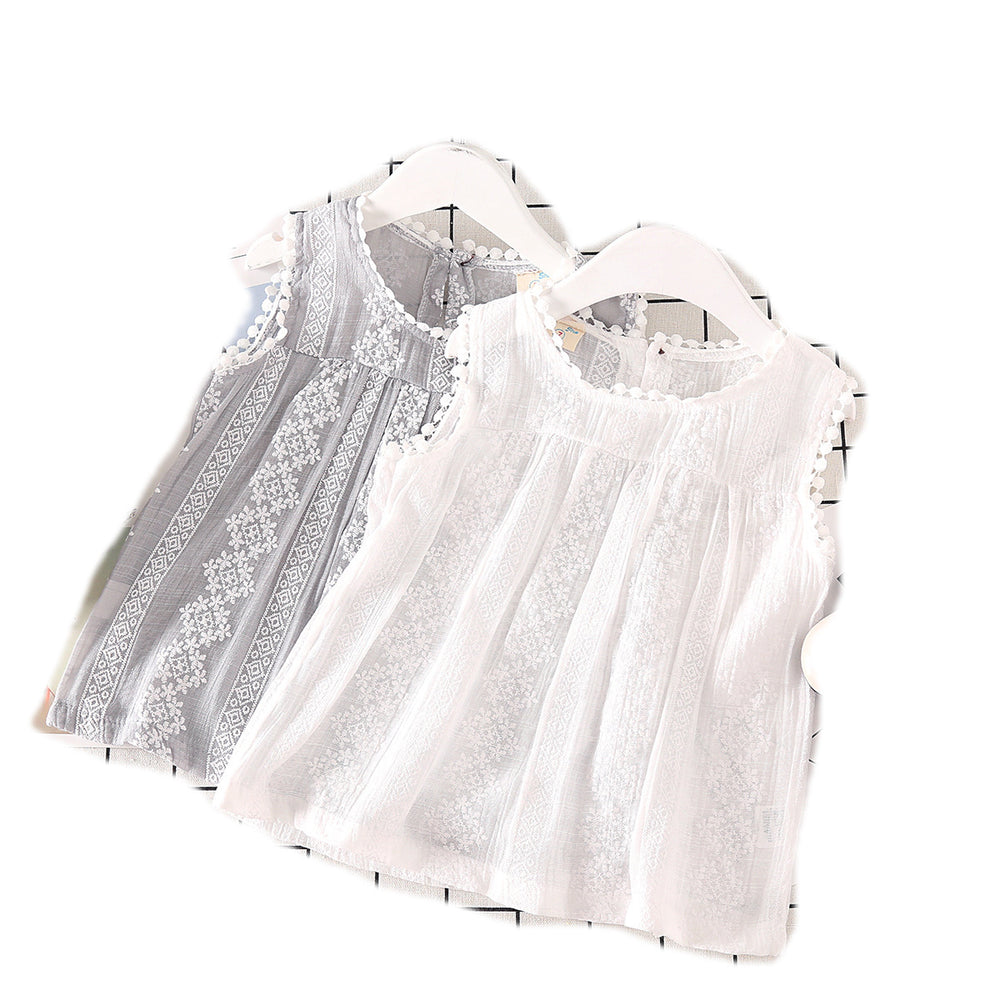 Sweet girls lace sleeveless t-shirt