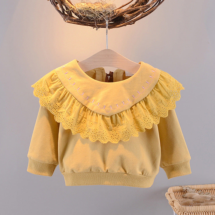 Girls Tops Round Neck Lace Collar