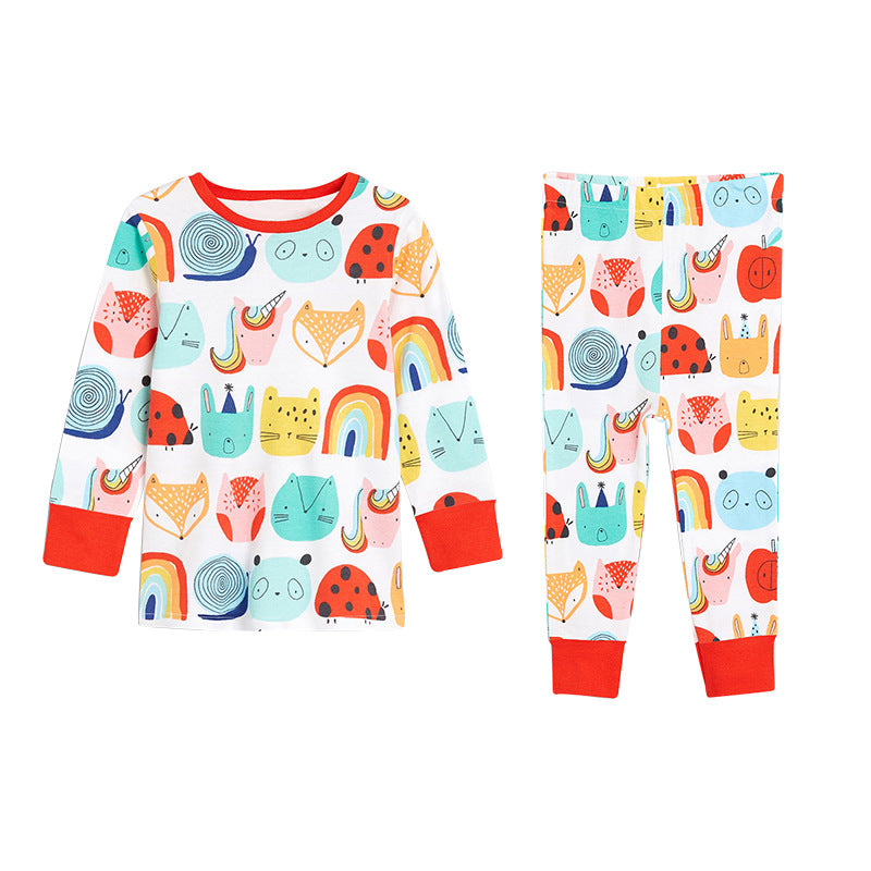 Children's stretch girls pajamas knitted long sleeves