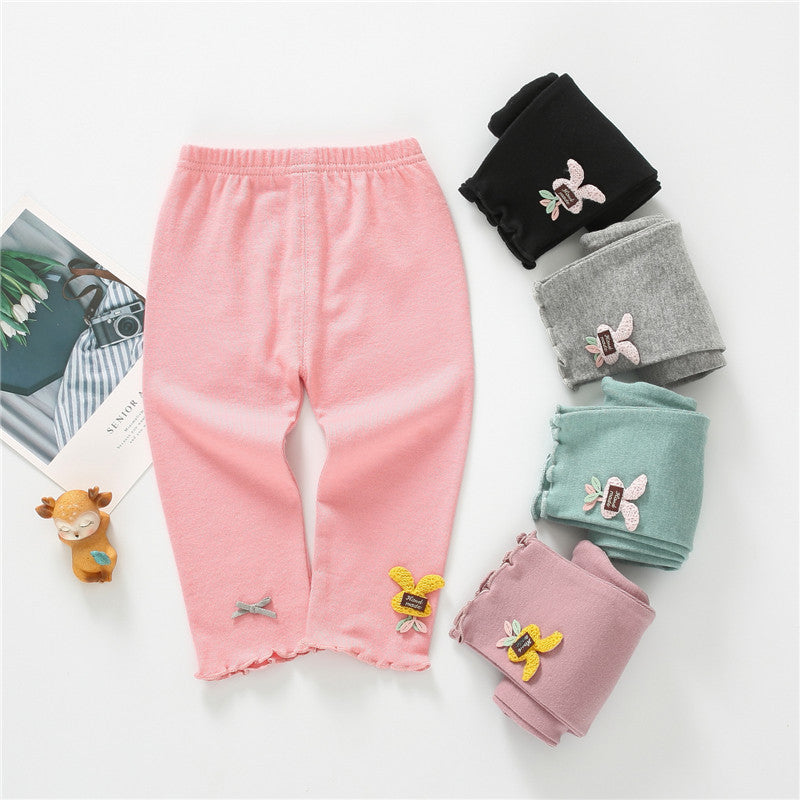 Girls pants solid color bunny