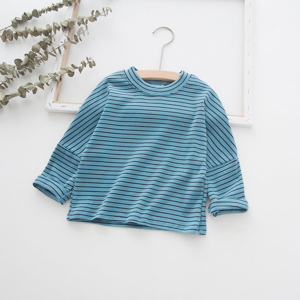Long sleeve bottoming shirt round neck striped