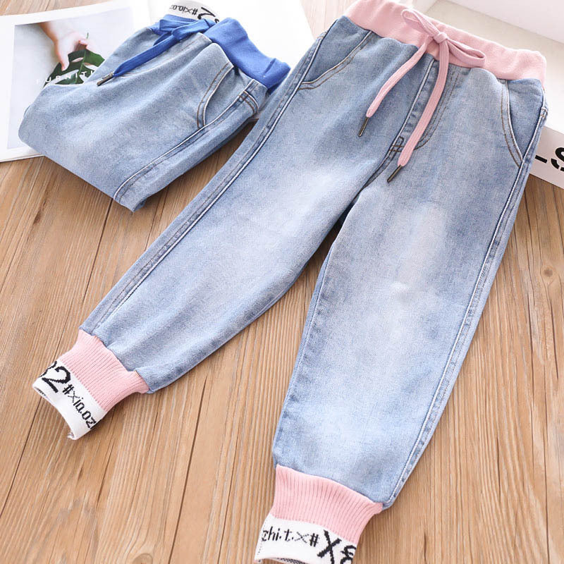 Jeans girls printed knit