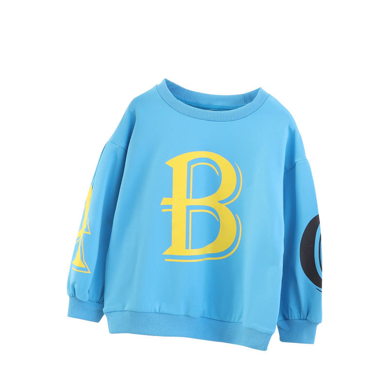 Baby shirt children sweater round neck long-sleeved