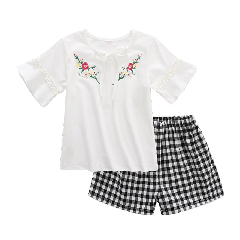 Shorts set two-piece girl embroidered short sleeve + plaid girl