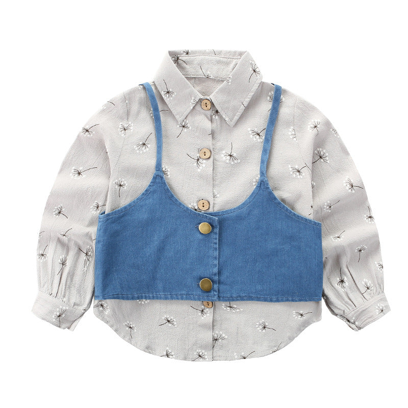 Two-piece suit girls shirt cotton
