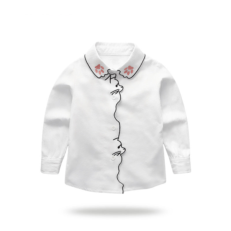Long-sleeved shirt cotton girls