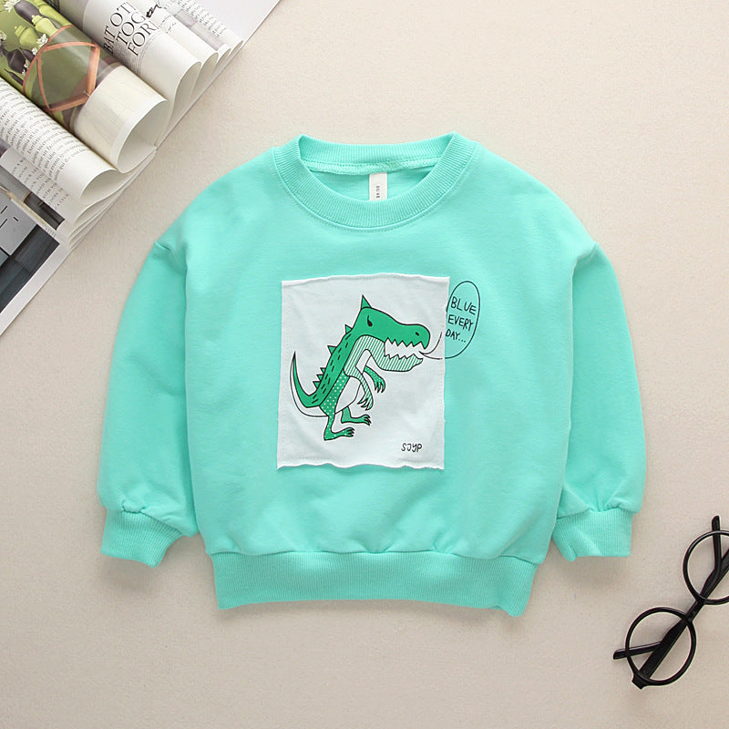 Children's  cotton round neck cartoon dinosaur sweater long sleeve