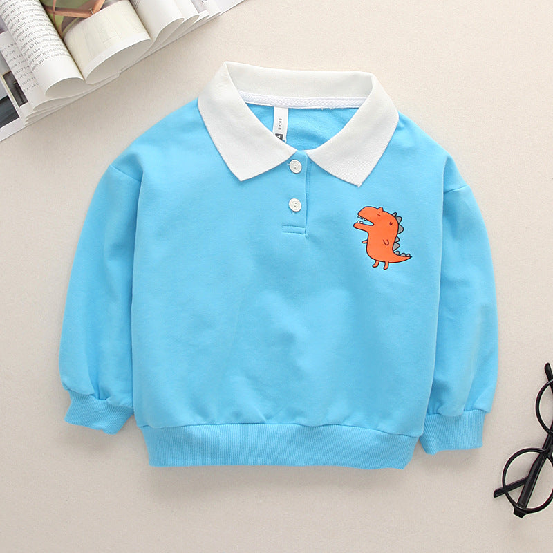 Lapel long-sleeved t-shirt cotton dinosaur cartoon