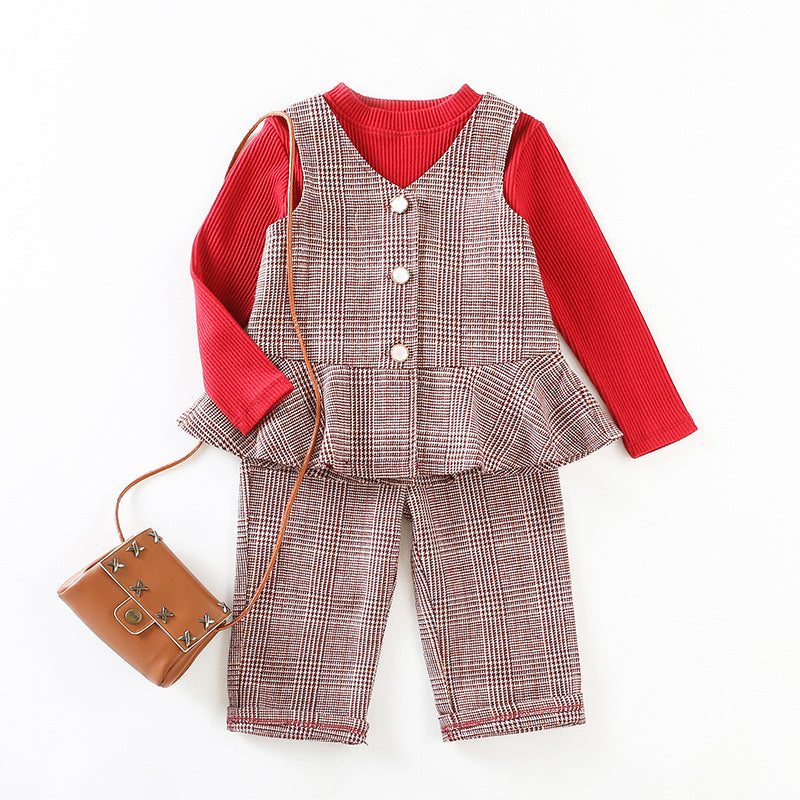 sets of girls plaid three-piece long-sleeved shirt + vest
