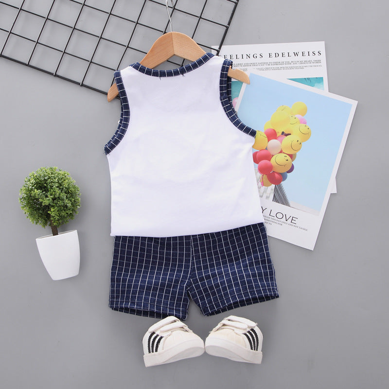 Vest children's plaid suit