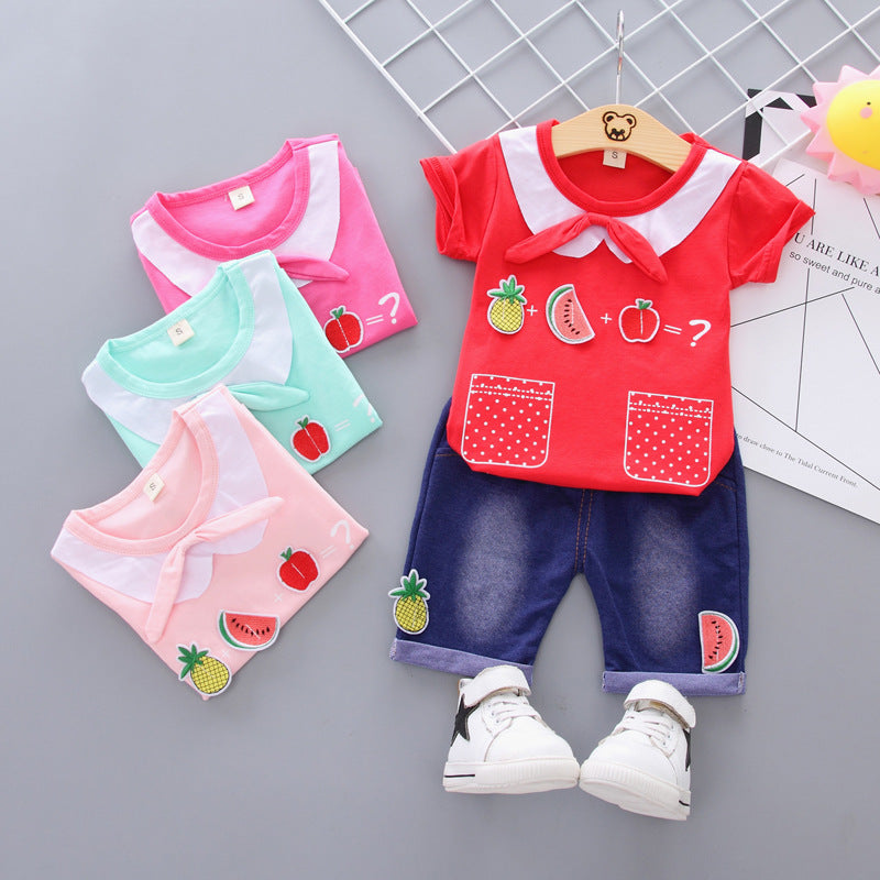 Short-sleeved suit cotton girls shorts
