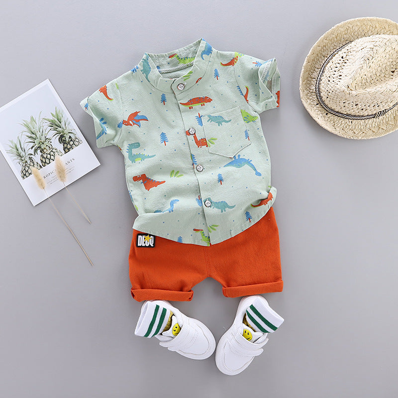 Children's body dinosaur short-sleeved shirt set
