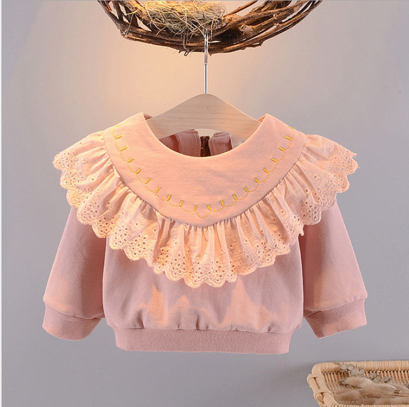 Girls Tops Round Neck Ocean Lace