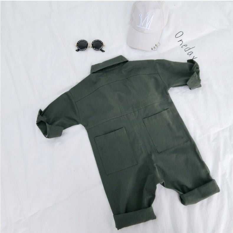 Cotton romper children's long-sleeved jumpsuit