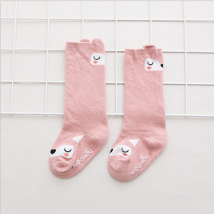 Children's socks cotton cartoon Straight pink bear