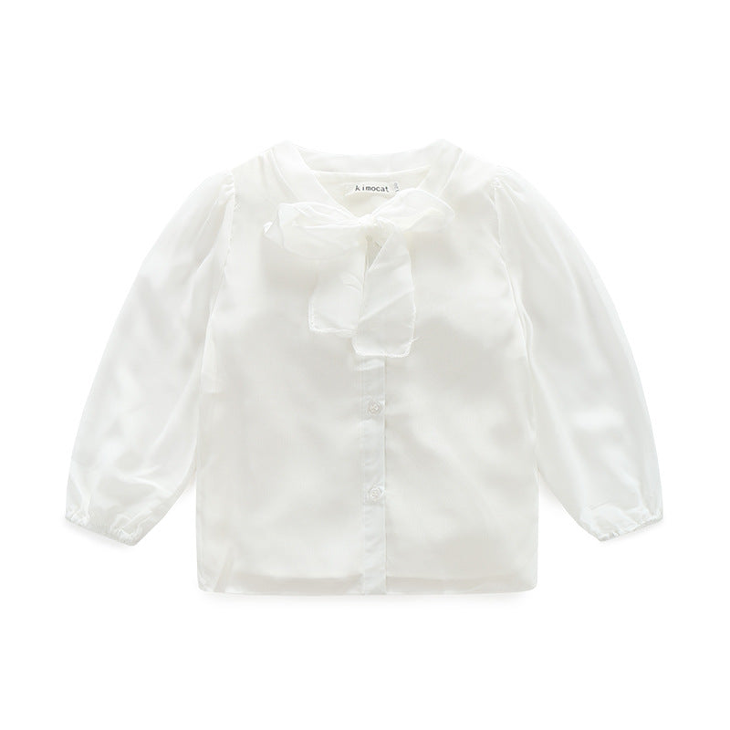 Clothing new girls white bow sweet