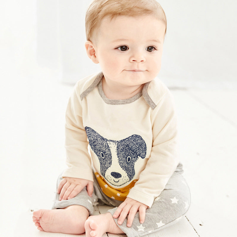 Set long-sleeved round neck color boy cartoon