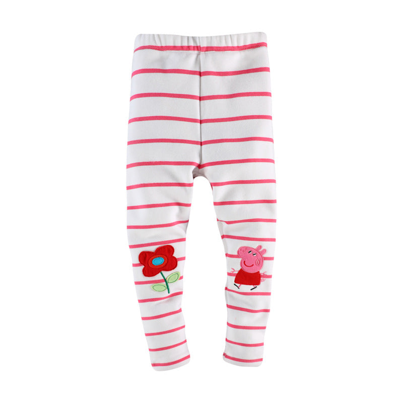 Leggings velvet cartoon printing dot girls