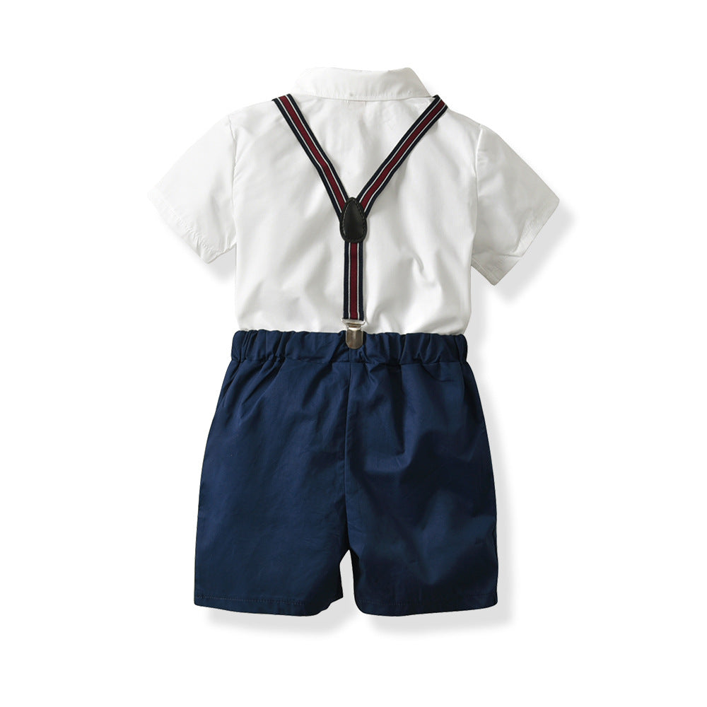 Children's suit cotton short-sleeved shirt four-piece