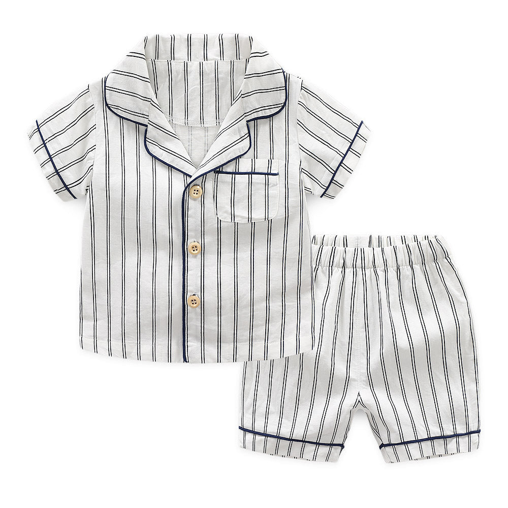 Set Striped two-piece short-sleeved pajamas baby cotton