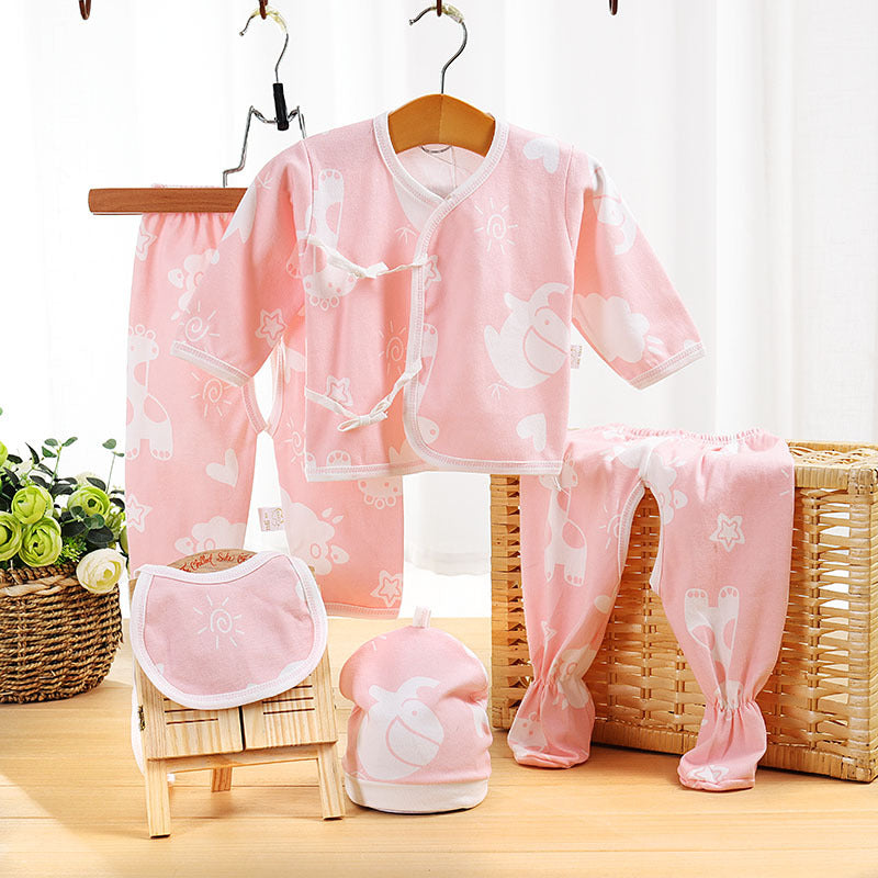 Newborn cotton baby clothes underwear five-piece set 0-3 months baby monk clothes - Kidsaliaspring and summer autumn - Alibaba - Kidsalia
