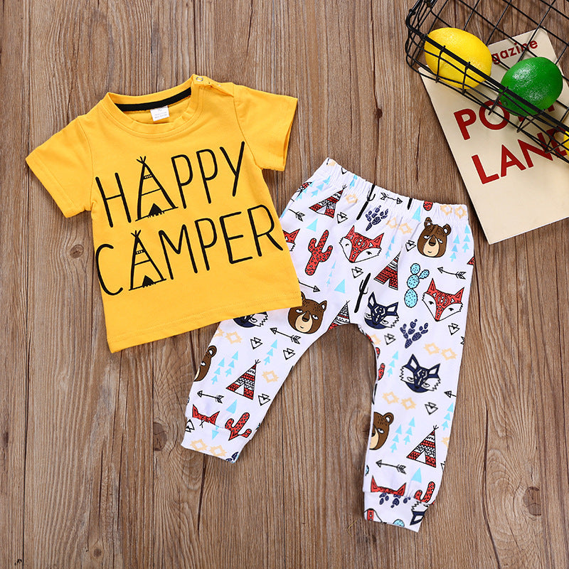 Set printed trousers boys letter printed shirt