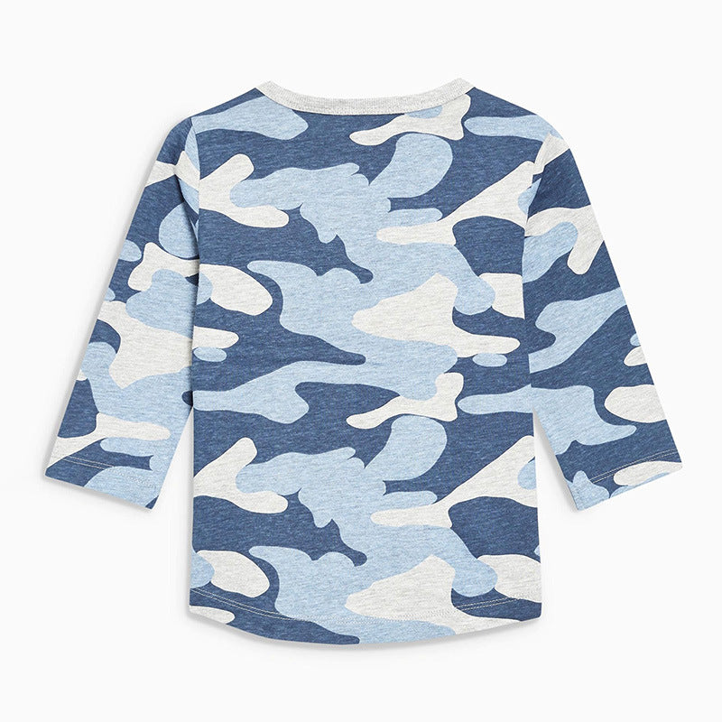 Long-sleeved children's t-shirt  knit round neck cotton boy