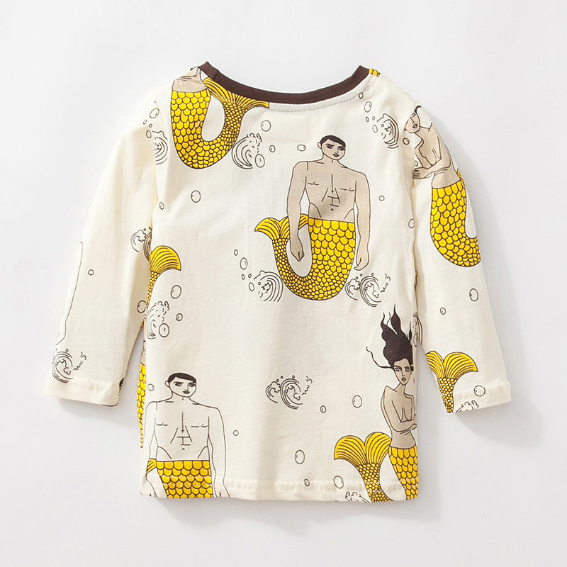 T-shirt round neck cartoon long-sleeved cotton children