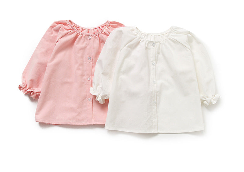 Girls long-sleeved cardigan shirt the cotton - Kidsalia