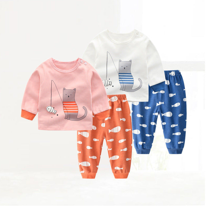 Children's cotton long-sleeved  pajamas cartoon 2 piece