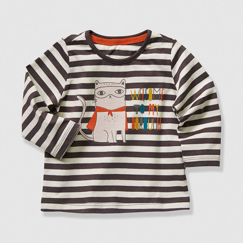 Children's t-shirt round neck long-sleeved cotton boy