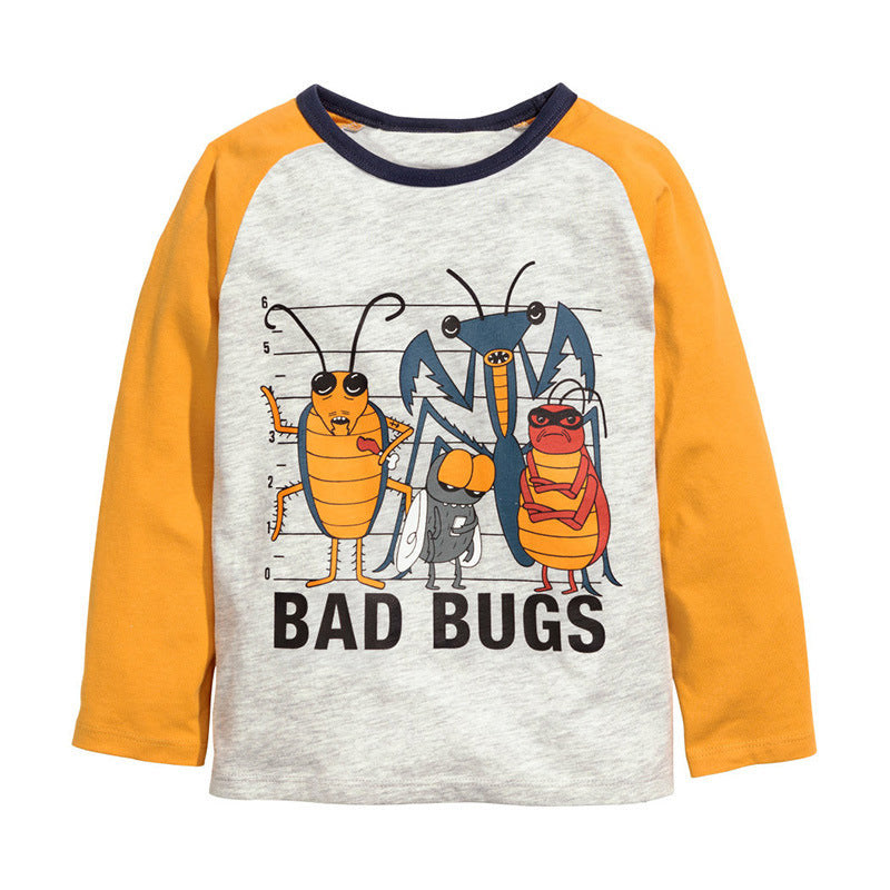 Children's long-sleeved cartoon round neck t-shirt boy