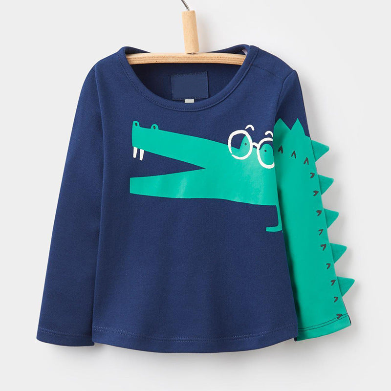 T-shirt round neck long-sleeved stretch children