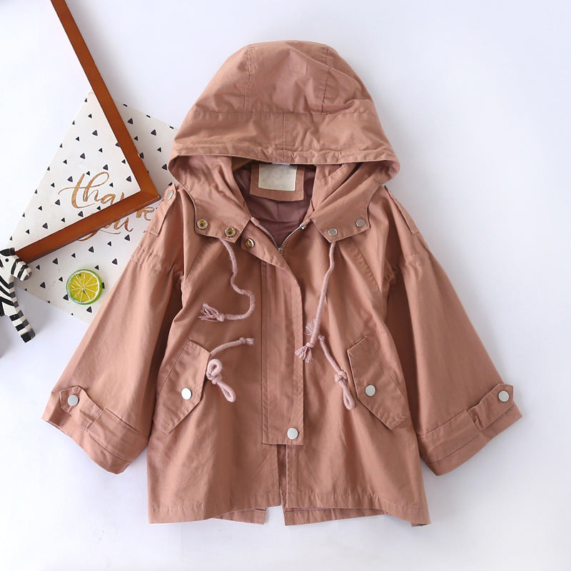 Girls windbreaker long-sleeved zipper hooded