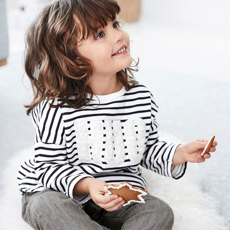 Children's bottoming shirt long-sleeved round neck striped
