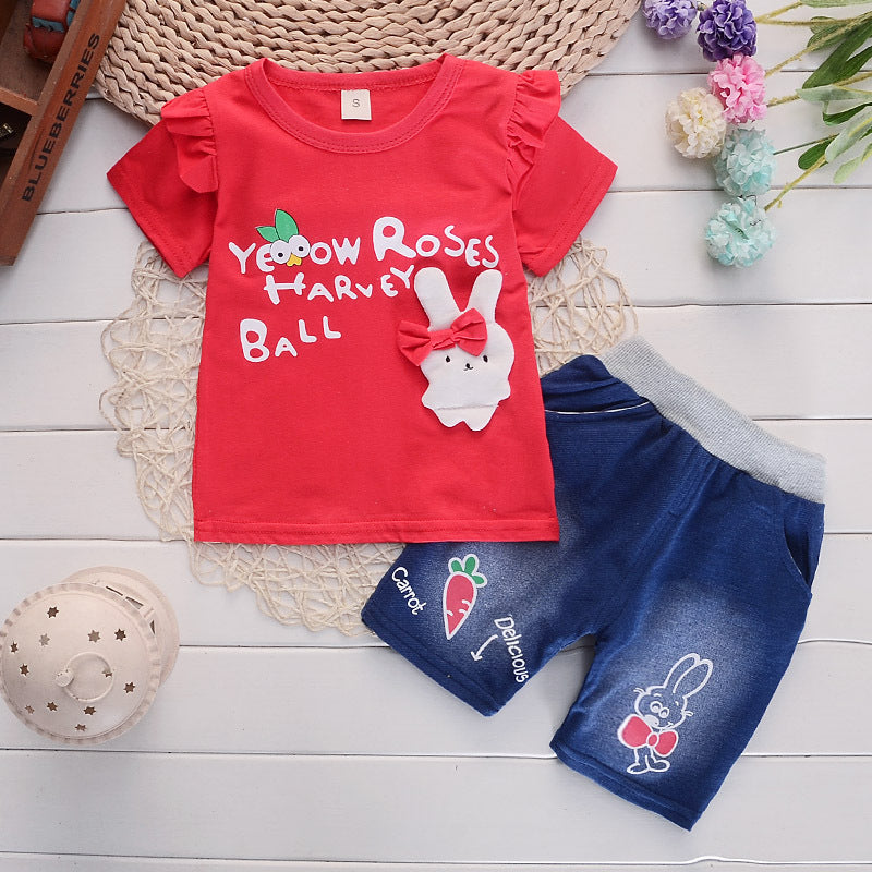 Girls suit short sleeve  cartoon rabbit round neck shirt two-piece