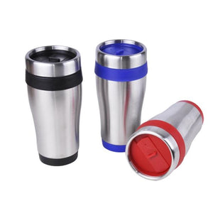 16 oz Stainless Steel Cup With Screw On Lid RED