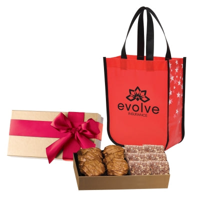 Executive Gift Set With Shiny Non-Woven Star Tote Bag