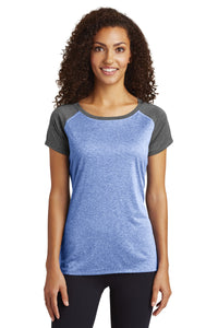 Sport-Tek Ladies Heather-On-Heather Contender Scoop Neck Tee