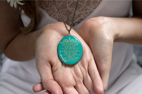 I'll always be with you... Patina Blue Engraved Oval Locket