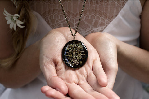 I'll always be with you... Worn Black Engraved Oval Locket