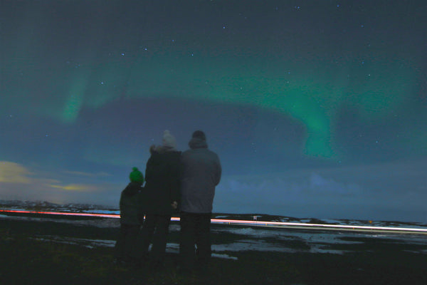 Mike, Jake and Me Watching the Northern Lights Outside Reykjavík Iceland