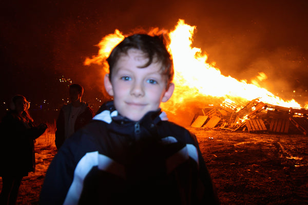 My Son in Front of the Iceland Bonfire on New Years Eve Reykjavik
