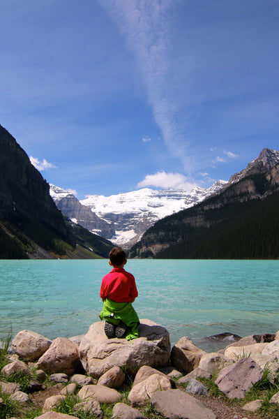 My son overlooking Lake Louise in Alberta, Canada
