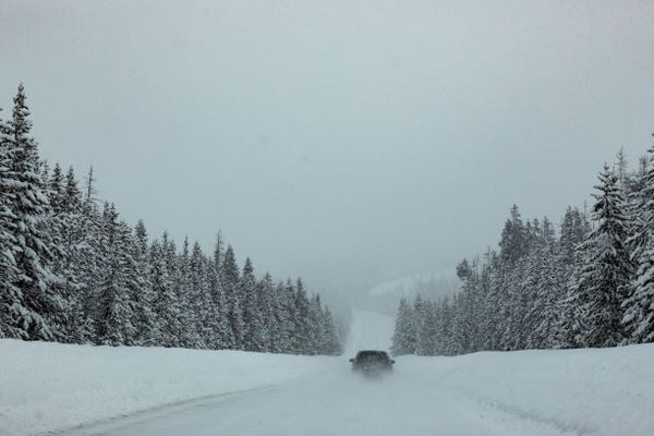 Driving Up To Big Sky Montana in a blizzard