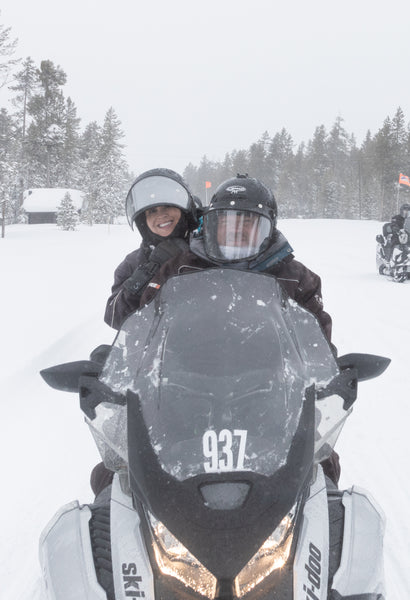 Shelley and Corey Peterson on their snowmobile tour of Yellowstone National Park