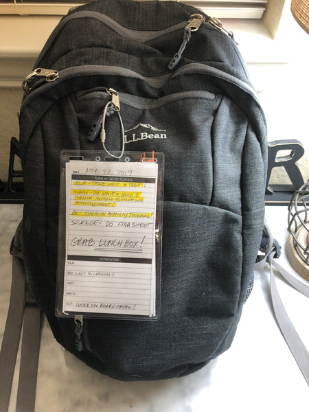 Daily Planner Attached to BackPack