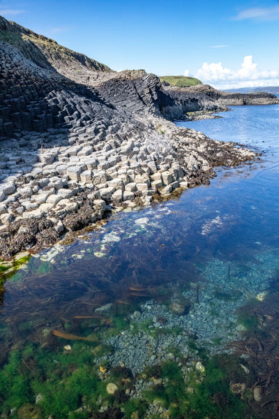 Basalt Columns Clear Water and Algae At The Isle of Staffa in the Hebrides Scotland