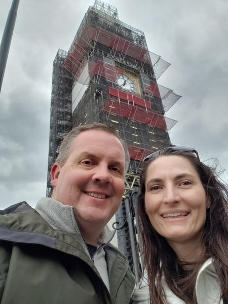 Mike and me in front of Big Ben who is getting a facelift